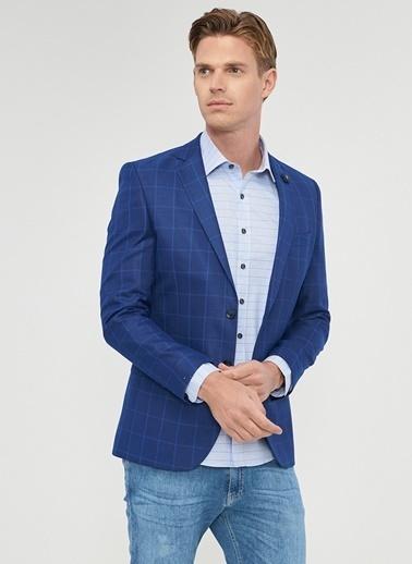 Altınyıldız Classics Ekoseli Blazer Ceket Lacivert